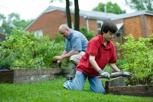 Nipote e nonno che fanno giardinaggio per prevenire le malattie più comuni nella vecchiaia.