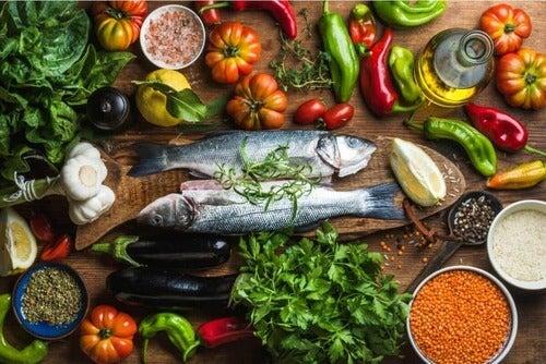 Cibi della dieta mediterranea.